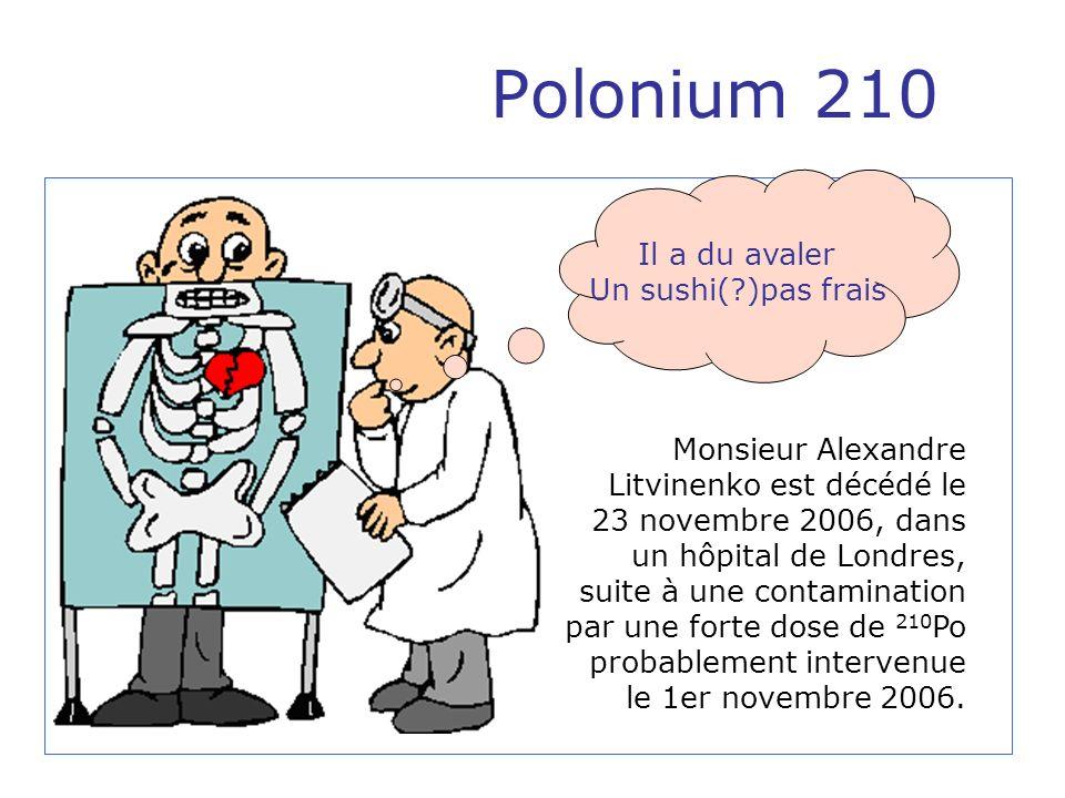 Polonium 210 Cat 1: <30 mBq/jour pas de calcul de dose >30 mBq/jour calcul de dose (supposé par inhalation) Cat 2: >30 mBq:jour à < 1mSv Cat 1 et Cat 2, conseil est donné que les doses sont sans souci (cf ICRP publication 60 bien que nous ne sommes pas en situation contrôlée, de plus ce nest pas une dose annuelle) Cat 3a: <6 mSv le risque cancer est calculé il est moins de 0,03% Ceci rivalise avec le risque de mort du cancer mortel denviron 25% pour la population dans son ensemble.