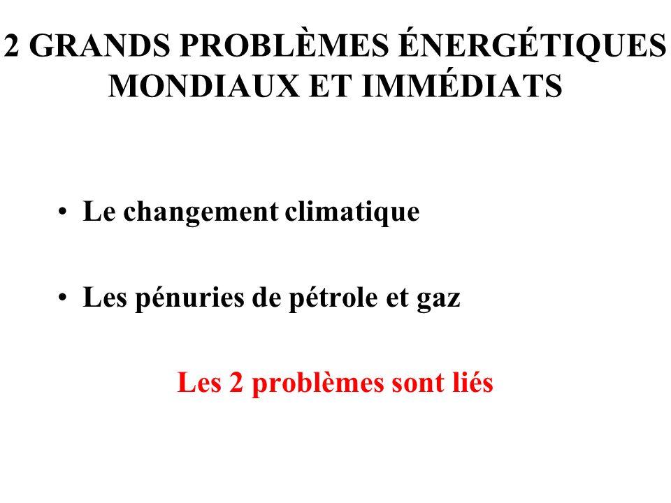 2 GRANDS PROBLÈMES ÉNERGÉTIQUES MONDIAUX ET IMMÉDIATS Le changement climatique Les pénuries de pétrole et gaz Les 2 problèmes sont liés