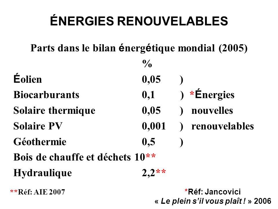 ÉNERGIES RENOUVELABLES Parts dans le bilan é nerg é tique mondial (2005) % É olien0,05 ) Biocarburants0,1 ) * É nergies Solaire thermique0,05 ) nouvel