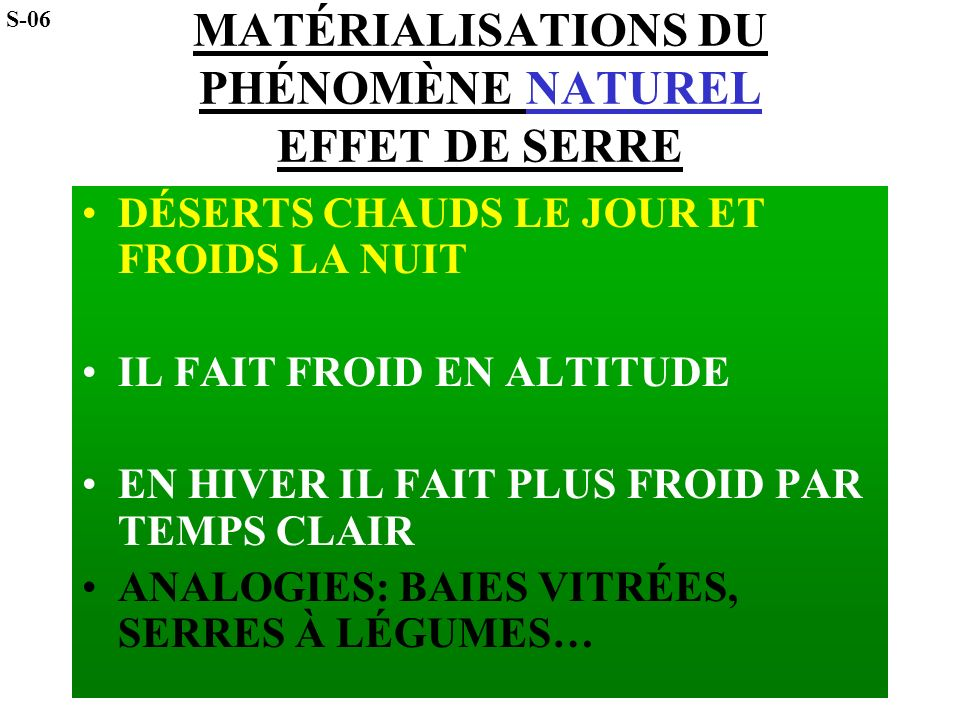 EFFET DE SERRE PROBLÈME: ACCROISSEMENT DE L EFFET DE SERRE S-07