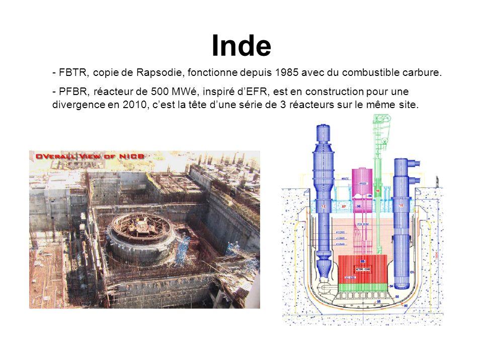 Inde - FBTR, copie de Rapsodie, fonctionne depuis 1985 avec du combustible carbure. - PFBR, réacteur de 500 MWé, inspiré dEFR, est en construction pou