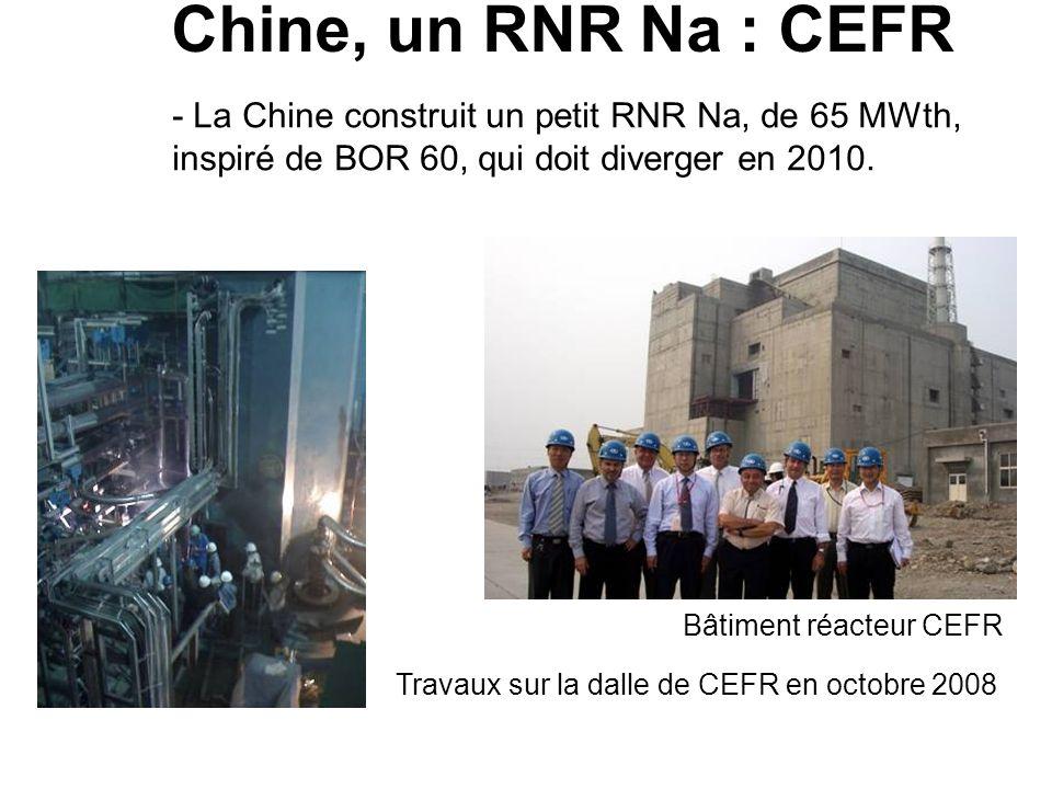 Chine, un RNR Na : CEFR Bâtiment réacteur CEFR Travaux sur la dalle de CEFR en octobre 2008 - La Chine construit un petit RNR Na, de 65 MWth, inspiré