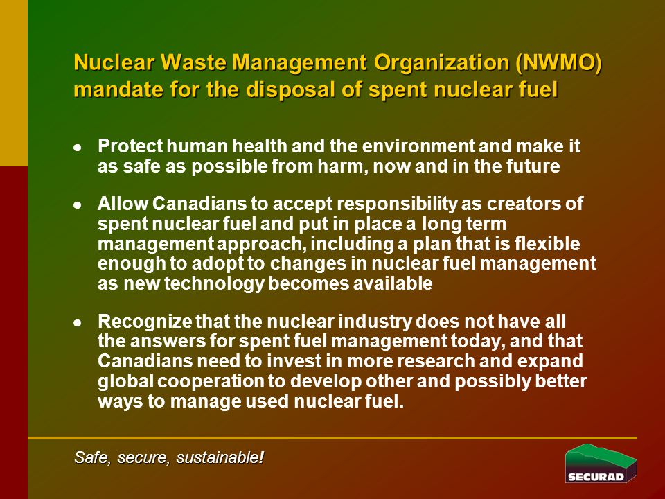 A viable Canadian solution for the safe disposal of spent nuclear fuel .