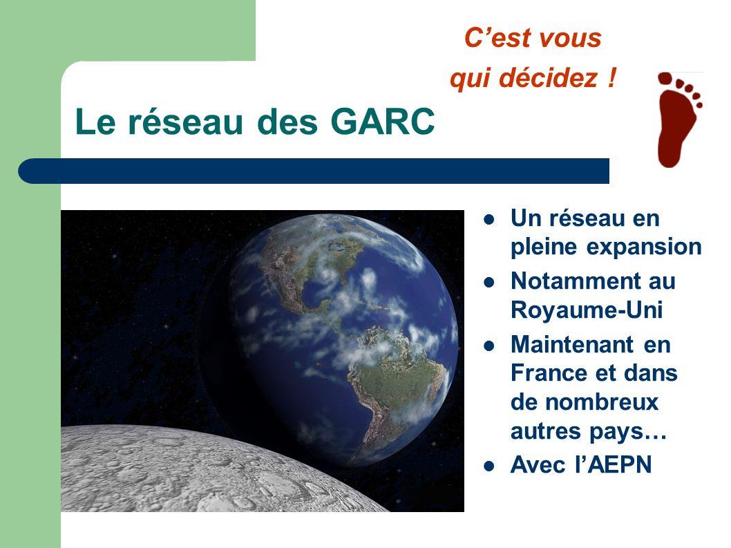 Le réseau des GARC Un réseau en pleine expansion Notamment au Royaume-Uni Maintenant en France et dans de nombreux autres pays… Avec lAEPN Cest vous q