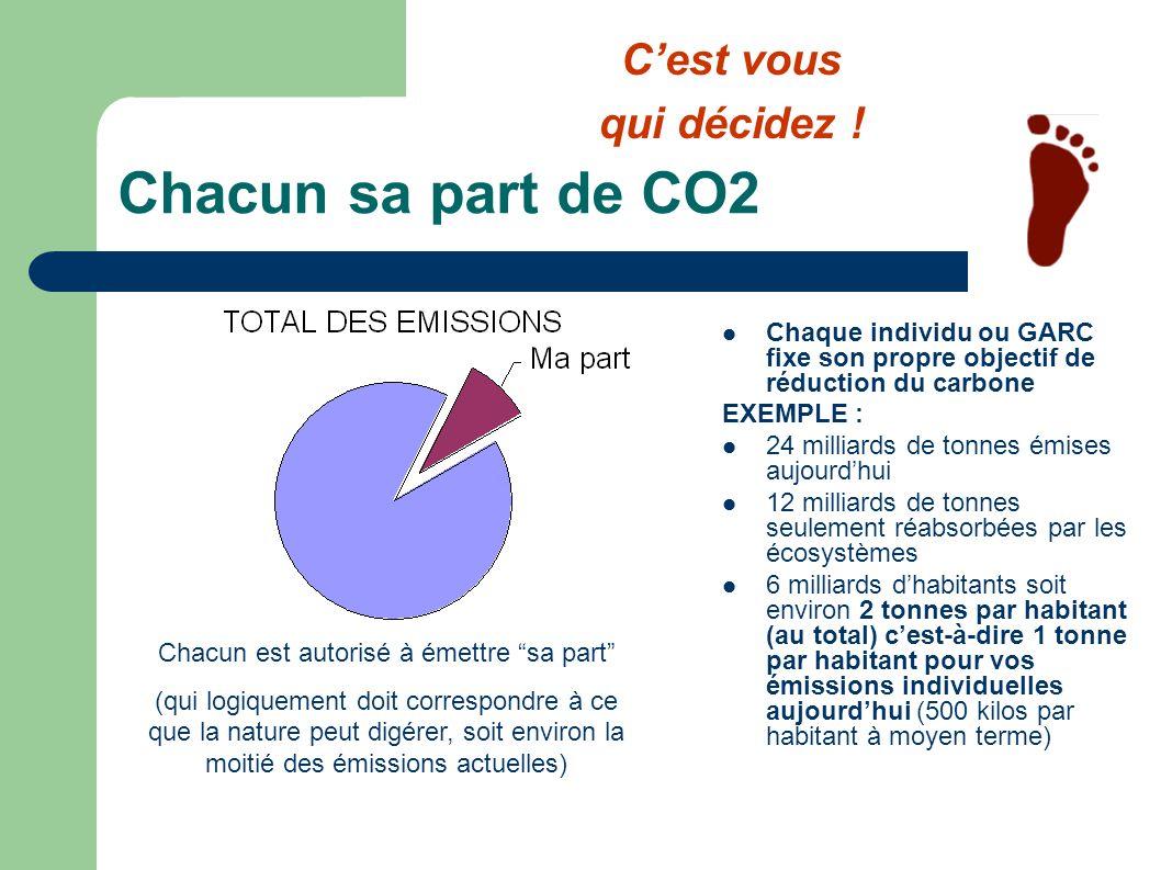 Mon bilan annuel de CO2 COMPTE CARBONE ANNUELPrixMa part M./Mme _______ ____________3 cts 2000 kg SOURCE DENERGIEQuantitéCO2 kg Gaz m3kg ElectricitékWhkg Chauffagekg Km autokmkg Transports commkmkg Trainkmkg Avionkmkg TOTAL des émissions de CO2kg Solde du compte en Euros Auto- mobile Chau f- fage Ele ctri cit é Cest vous qui décidez !