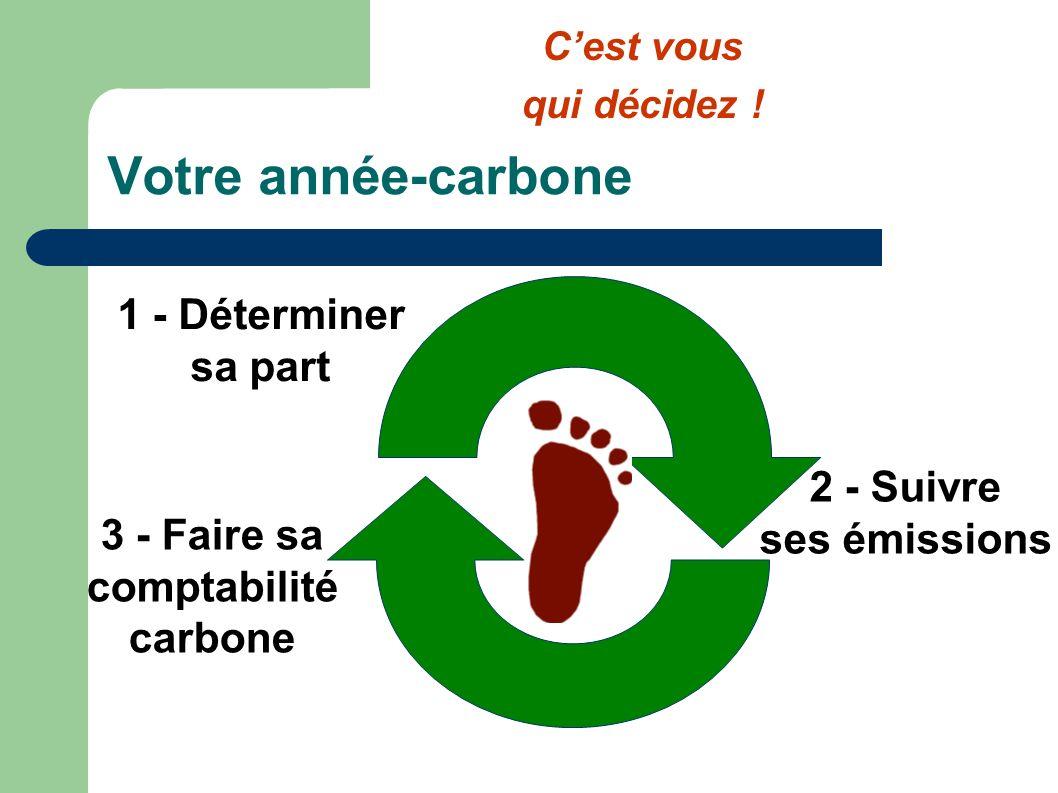 Votre année-carbone 1 - Déterminer sa part 2 - Suivre ses émissions 3 - Faire sa comptabilité carbone Cest vous qui décidez !