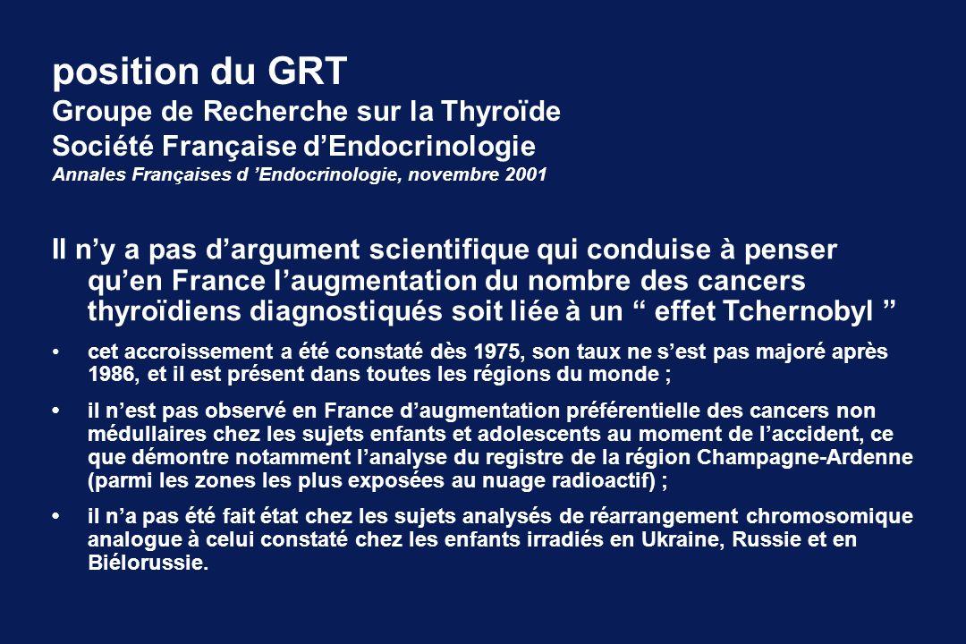 Il ny a pas dargument scientifique qui conduise à penser quen France laugmentation du nombre des cancers thyroïdiens diagnostiqués soit liée à un effe