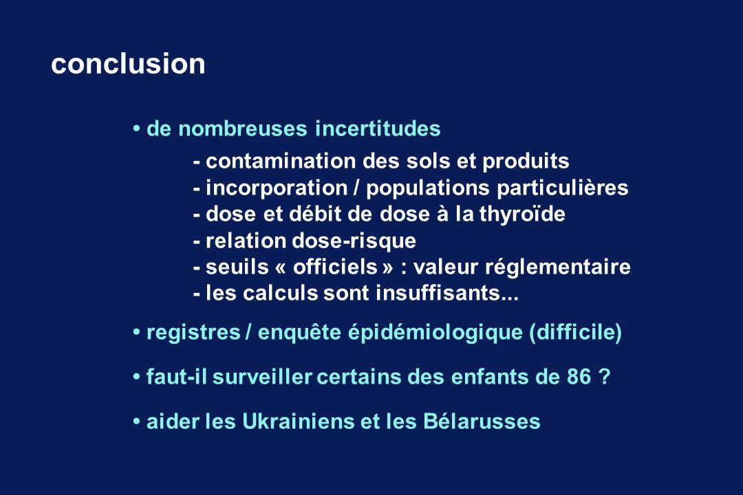 de nombreuses incertitudes - contamination des sols et produits - incorporation / populations particulières - dose et débit de dose à la thyroïde - re