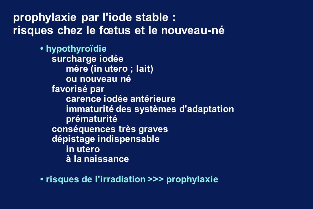 prophylaxie par l'iode stable : risques chez le fœtus et le nouveau-né hypothyroïdie surcharge iodée mère (in utero ; lait) ou nouveau né favorisé par