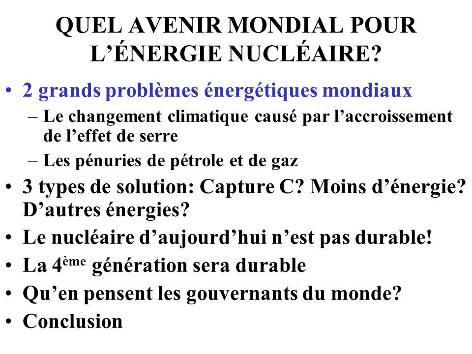 QUEL AVENIR MONDIAL POUR LÉNERGIE NUCLÉAIRE? 2 grands problèmes énergétiques mondiaux –Le changement climatique causé par laccroissement de leffet de
