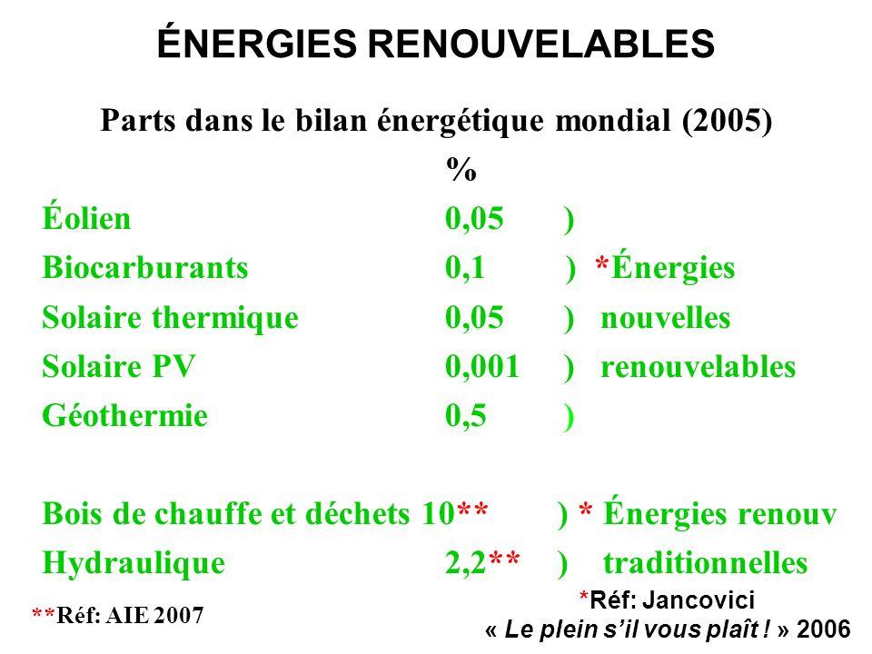 ÉNERGIES RENOUVELABLES Parts dans le bilan énergétique mondial (2005) % Éolien0,05 ) Biocarburants0,1 ) *Énergies Solaire thermique0,05 ) nouvelles So