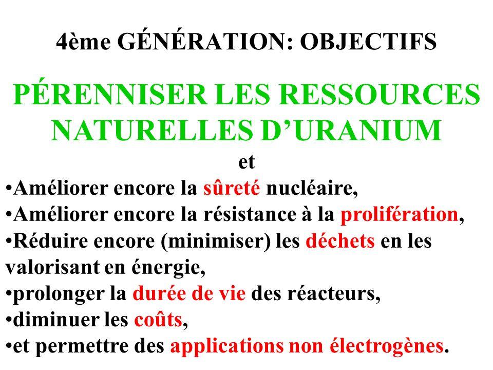 4ème GÉNÉRATION: OBJECTIFS PÉRENNISER LES RESSOURCES NATURELLES DURANIUM et Améliorer encore la sûreté nucléaire, Améliorer encore la résistance à la