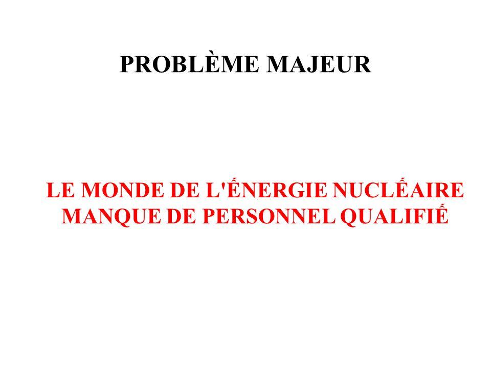 PROBLÈME MAJEUR LE MONDE DE L'NERGIE NUCLAIRE MANQUE DE PERSONNEL QUALIFI
