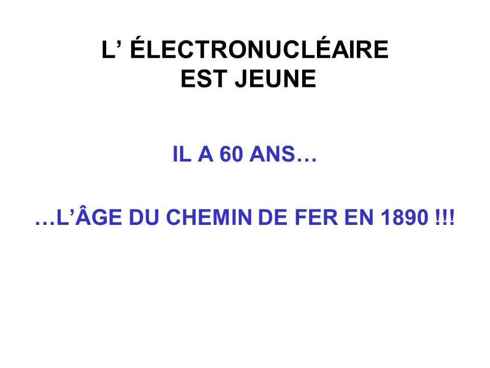 L ÉLECTRONUCLÉAIRE EST JEUNE IL A 60 ANS… …LÂGE DU CHEMIN DE FER EN 1890 !!!