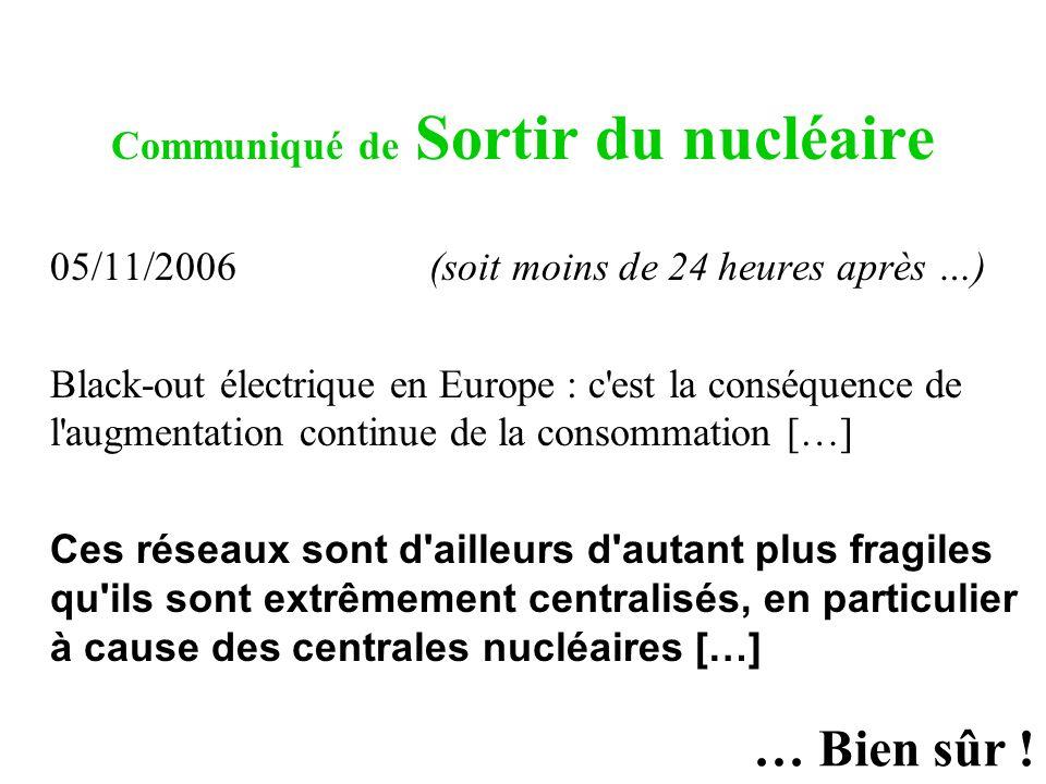 Communiqué de Sortir du nucléaire 05/11/2006 (soit moins de 24 heures après …) Black-out électrique en Europe : c'est la conséquence de l'augmentation