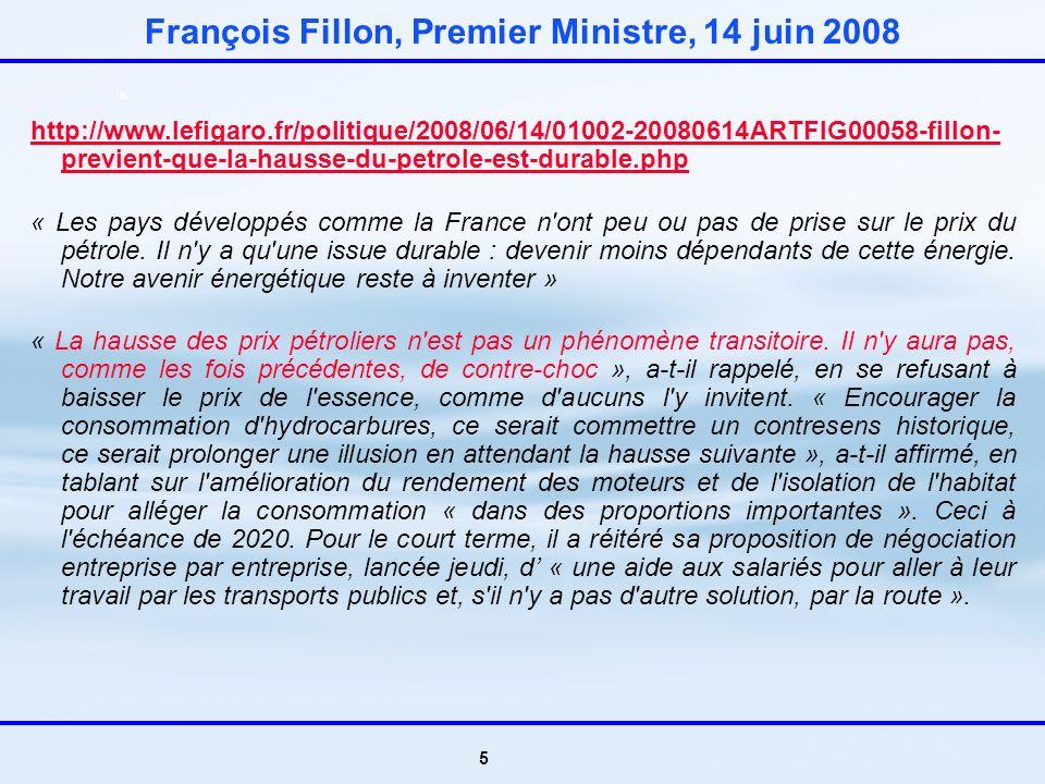 5 François Fillon, Premier Ministre, 14 juin 2008 http://www.lefigaro.fr/politique/2008/06/14/01002-20080614ARTFIG00058-fillon- previent-que-la-hausse-du-petrole-est-durable.php « Les pays développés comme la France n ont peu ou pas de prise sur le prix du pétrole.