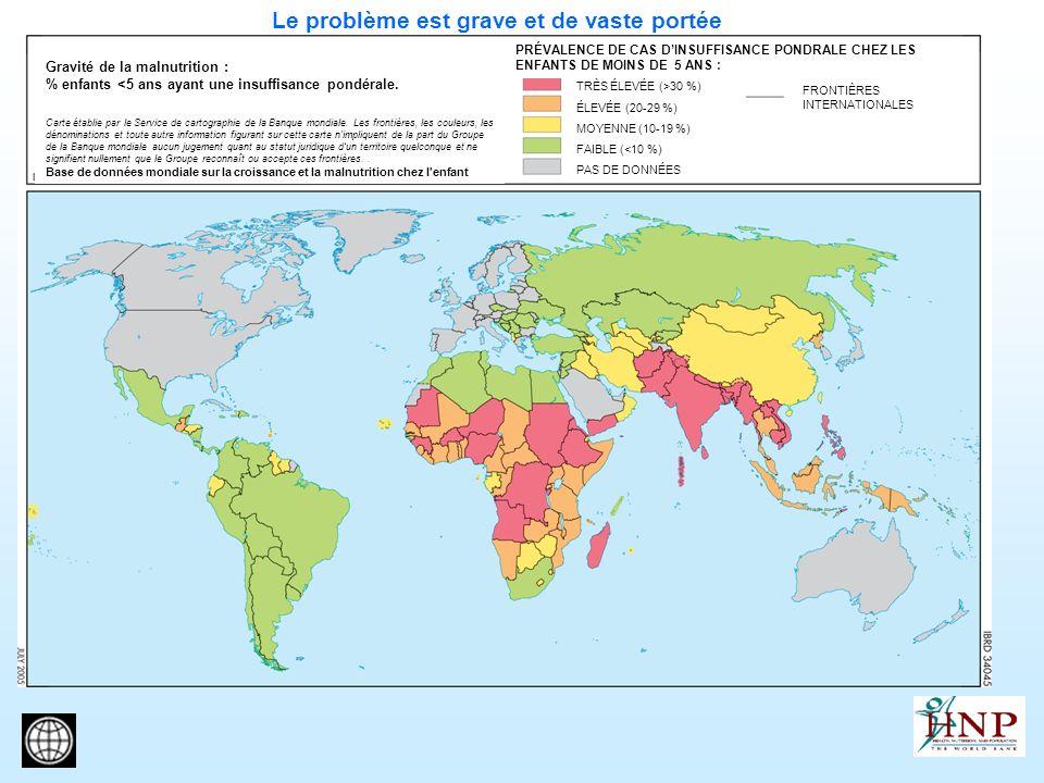 Le problème est grave et de vaste portée Gravité de la malnutrition : % enfants <5 ans ayant une insuffisance pondérale. Carte établie par le Service