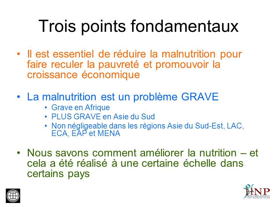 Trois points fondamentaux Il est essentiel de réduire la malnutrition pour faire reculer la pauvreté et promouvoir la croissance économique La malnutr