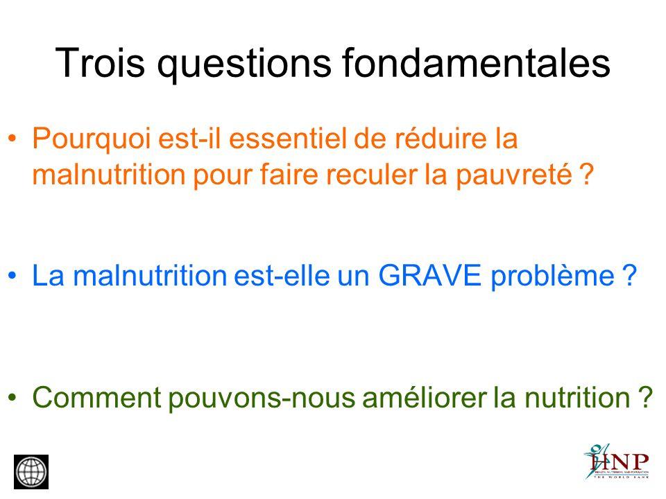 Trois questions fondamentales Pourquoi est-il essentiel de réduire la malnutrition pour faire reculer la pauvreté ? La malnutrition est-elle un GRAVE