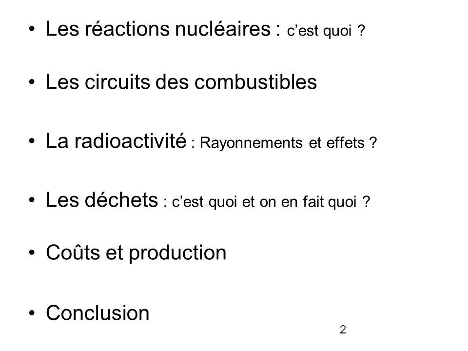 2 Les réactions nucléaires : cest quoi ? Les circuits des combustibles La radioactivité : Rayonnements et effets ? Les déchets : cest quoi et on en fa