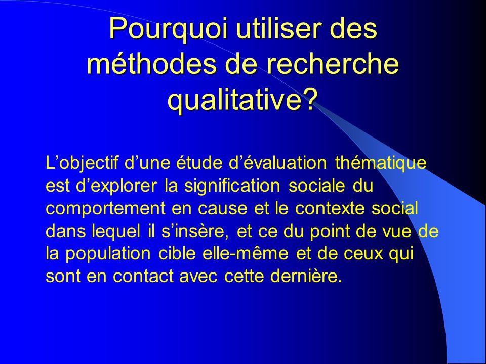 Pourquoi utiliser des méthodes de recherche qualitative.