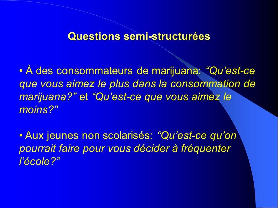 Questions semi-structurées À des consommateurs de marijuana: Quest-ce que vous aimez le plus dans la consommation de marijuana.