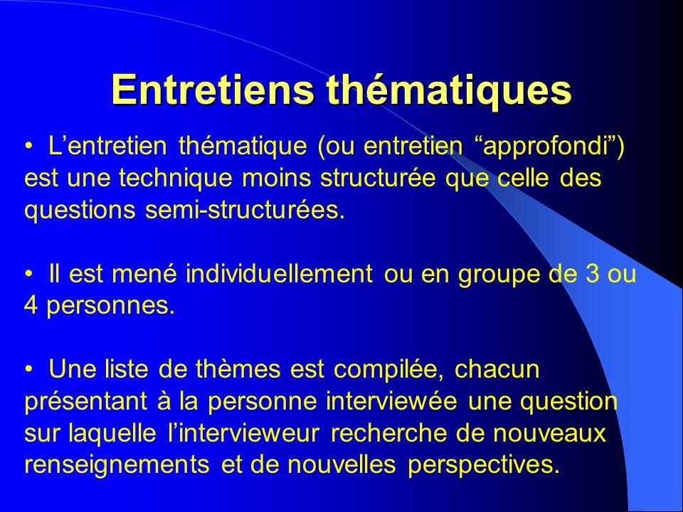 Entretiens thématiques Lentretien thématique (ou entretien approfondi) est une technique moins structurée que celle des questions semi-structurées.