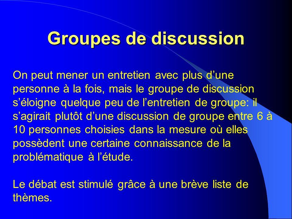 Groupes de discussion On peut mener un entretien avec plus dune personne à la fois, mais le groupe de discussion séloigne quelque peu de lentretien de groupe: il sagirait plutôt dune discussion de groupe entre 6 à 10 personnes choisies dans la mesure où elles possèdent une certaine connaissance de la problématique à létude.
