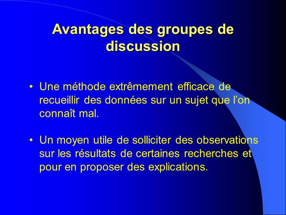 Avantages des groupes de discussion Une méthode extrêmement efficace de recueillir des données sur un sujet que lon connaît mal.