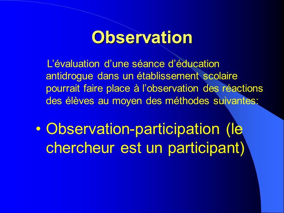 Observation Lévaluation dune séance déducation antidrogue dans un établissement scolaire pourrait faire place à lobservation des réactions des élèves au moyen des méthodes suivantes: Observation-participation (le chercheur est un participant)