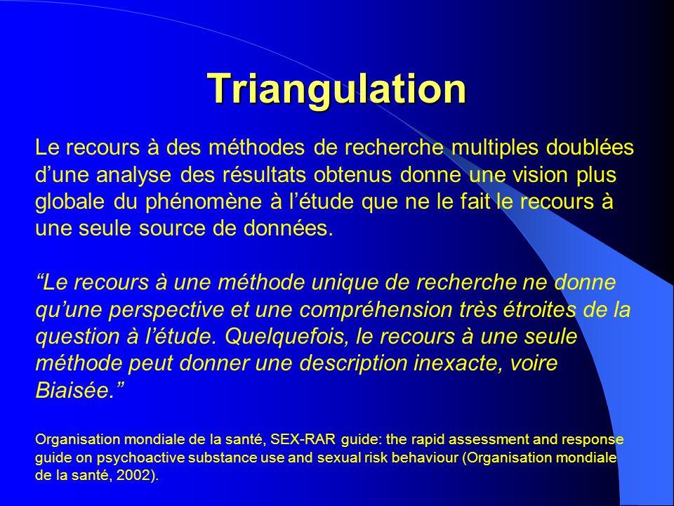 Triangulation Le recours à des méthodes de recherche multiples doublées dune analyse des résultats obtenus donne une vision plus globale du phénomène à létude que ne le fait le recours à une seule source de données.
