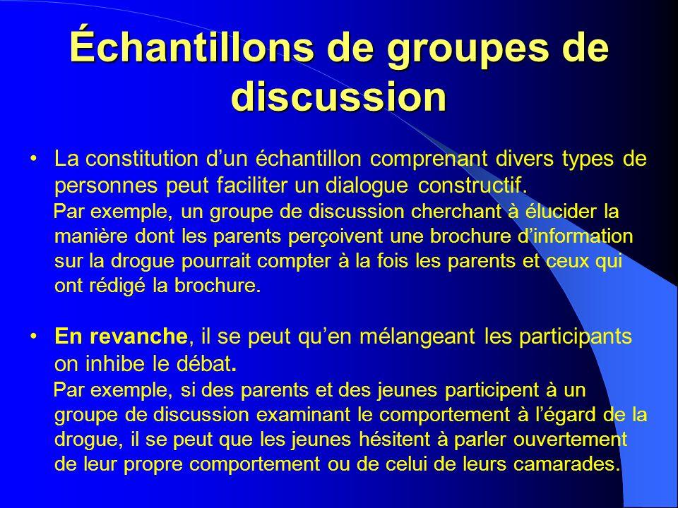 Échantillons de groupes de discussion La constitution dun échantillon comprenant divers types de personnes peut faciliter un dialogue constructif.