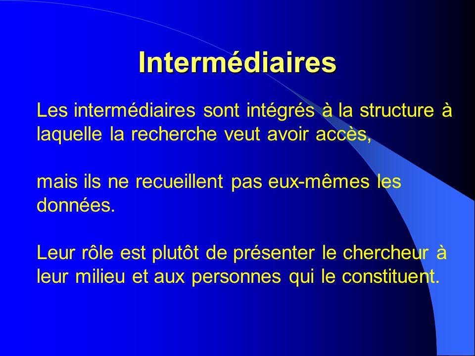 Intermédiaires Les intermédiaires sont intégrés à la structure à laquelle la recherche veut avoir accès, mais ils ne recueillent pas eux-mêmes les données.