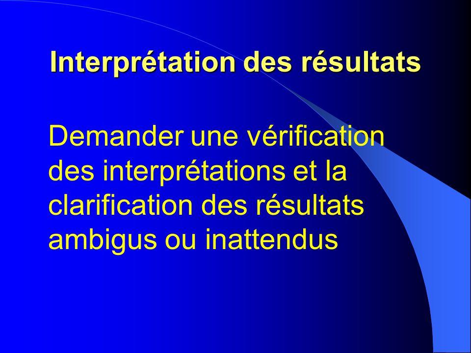 Interprétation des résultats Demander une vérification des interprétations et la clarification des résultats ambigus ou inattendus
