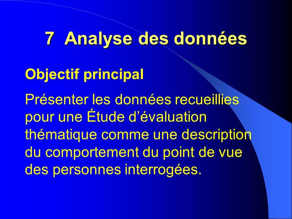 Objectif principal Présenter les données recueillies pour une Étude dévaluation thématique comme une description du comportement du point de vue des personnes interrogées.