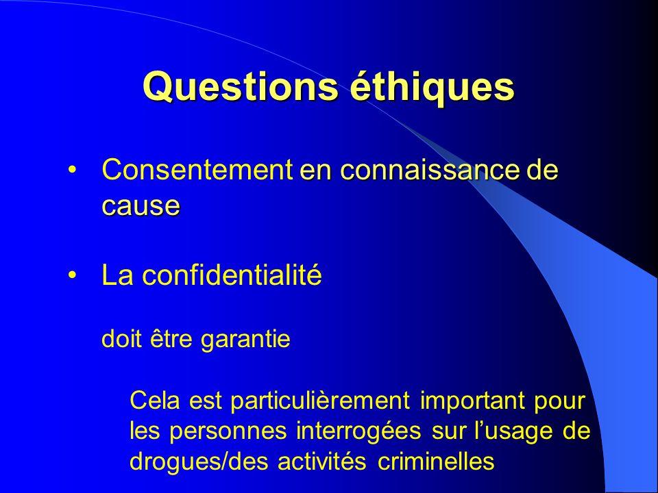 Questions éthiques en connaissance de causeConsentement en connaissance de cause La confidentialité doit être garantie Cela est particulièrement important pour les personnes interrogées sur lusage de drogues/des activités criminelles