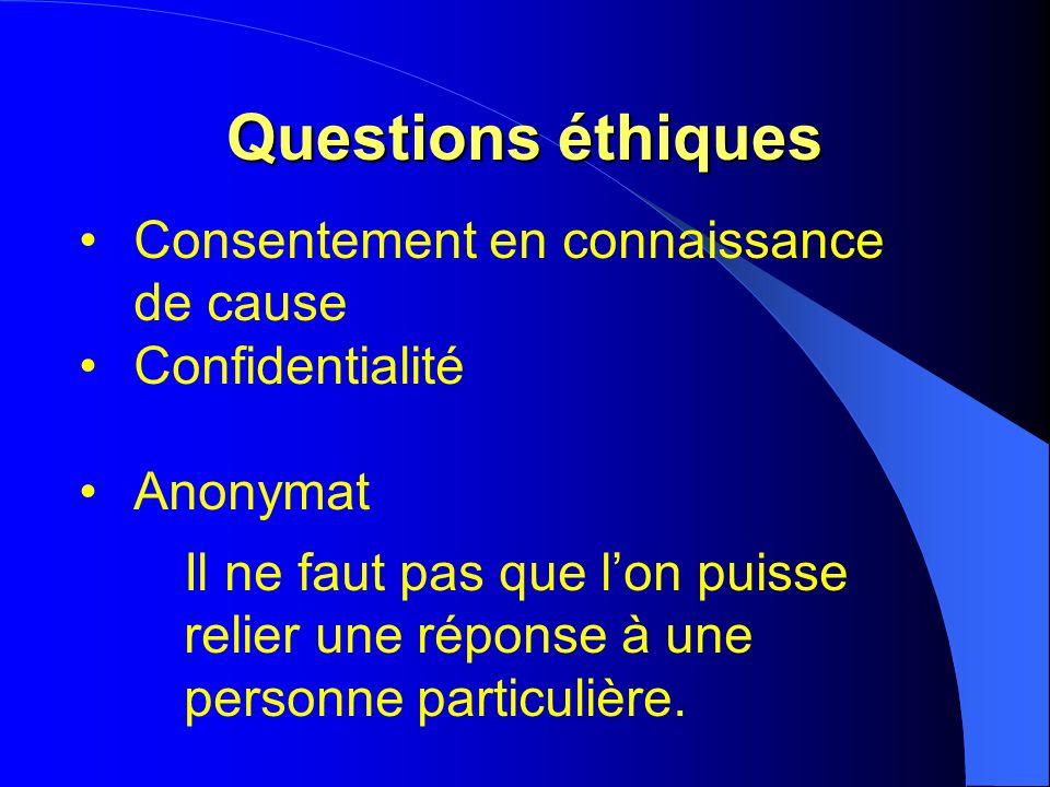 Questions éthiques Consentement en connaissance de cause Confidentialité Anonymat Il ne faut pas que lon puisse relier une réponse à une personne particulière.