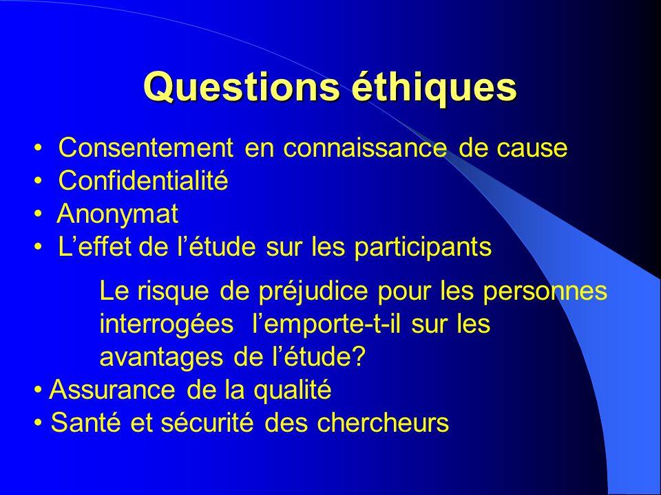 Questions éthiques Consentement en connaissance de cause Confidentialité Anonymat Leffet de létude sur les participants Le risque de préjudice pour le