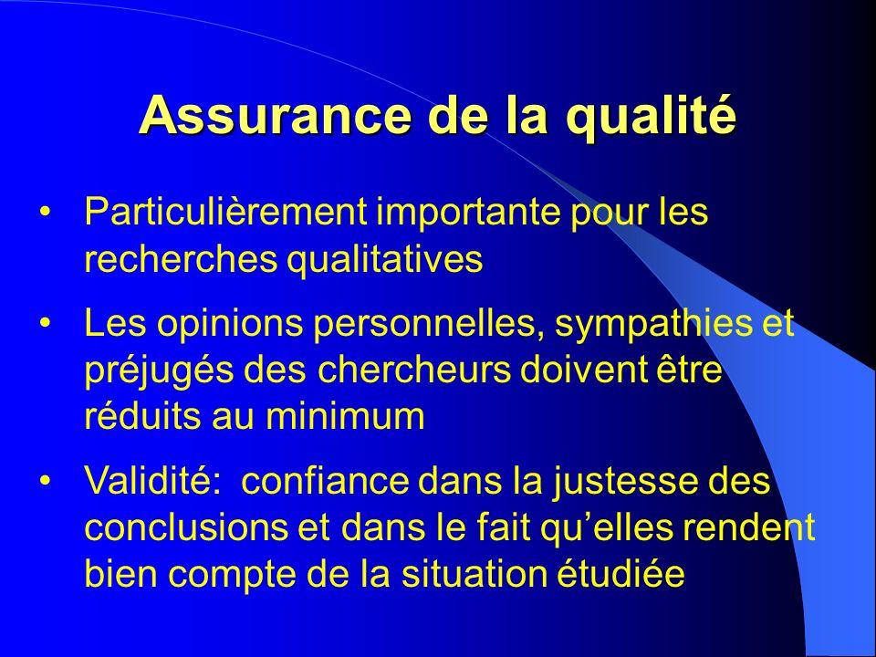 Assurance de la qualité Particulièrement importante pour les recherches qualitatives Les opinions personnelles, sympathies et préjugés des chercheurs