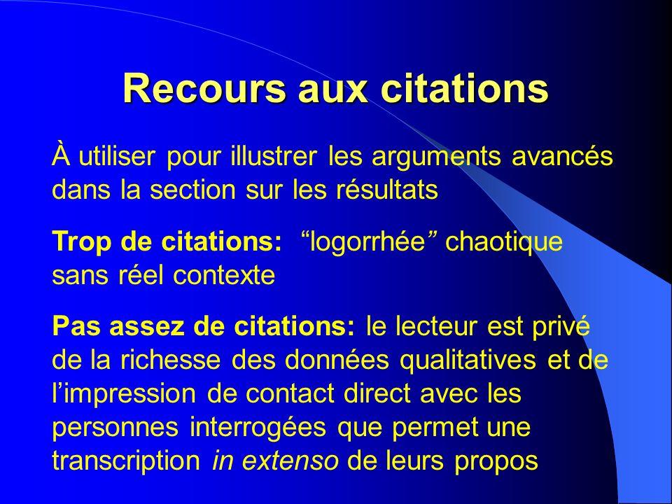 Recours aux citations À utiliser pour illustrer les arguments avancés dans la section sur les résultats Trop de citations: logorrhée chaotique sans ré