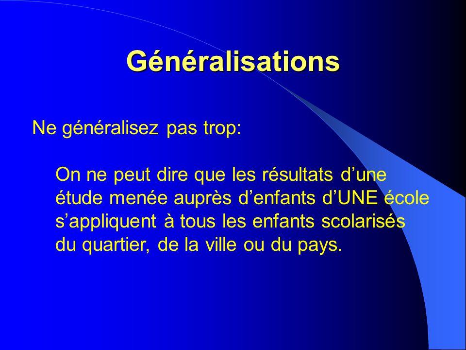 Généralisations Ne généralisez pas trop: On ne peut dire que les résultats dune étude menée auprès denfants dUNE école sappliquent à tous les enfants