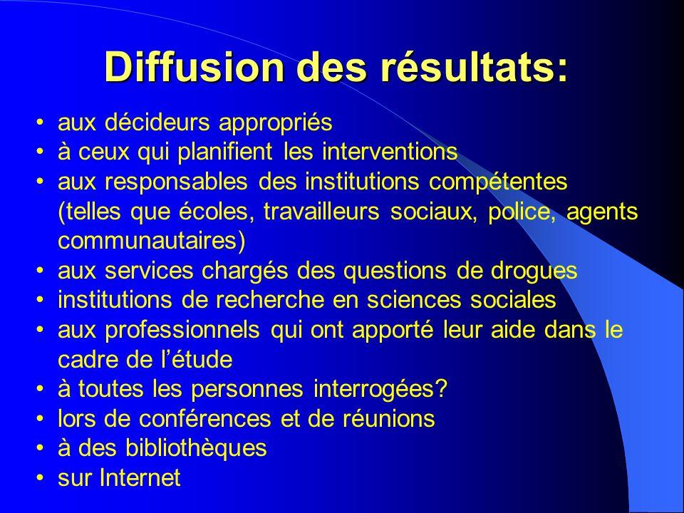 Diffusion des résultats: aux décideurs appropriés à ceux qui planifient les interventions aux responsables des institutions compétentes (telles que éc