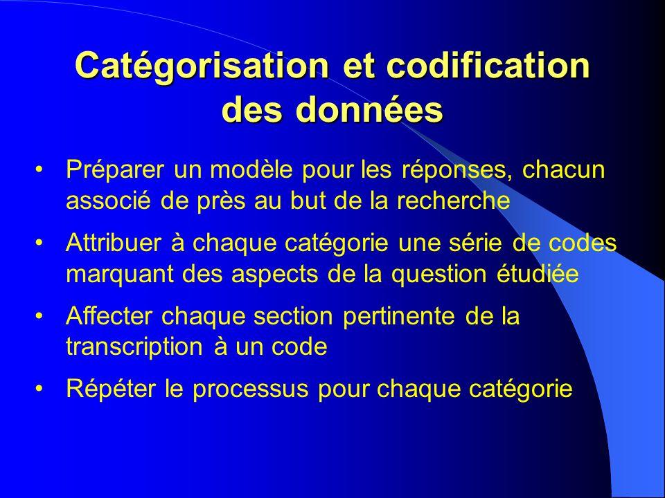 Catégorisation et codification des données Préparer un modèle pour les réponses, chacun associé de près au but de la recherche Attribuer à chaque catégorie une série de codes marquant des aspects de la question étudiée Affecter chaque section pertinente de la transcription à un code Répéter le processus pour chaque catégorie