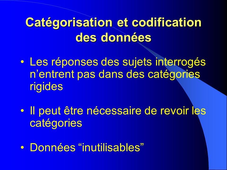 Catégorisation et codification des données Les réponses des sujets interrogés nentrent pas dans des catégories rigides Il peut être nécessaire de revo