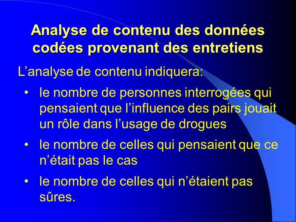 Analyse de contenu des données codées provenant des entretiens Lanalyse de contenu indiquera: le nombre de personnes interrogées qui pensaient que lin