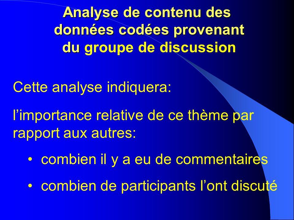 Analyse de contenu des données codées provenant du Analyse de contenu des données codées provenant du groupe de discussion Cette analyse indiquera: limportance relative de ce thème par rapport aux autres: combien il y a eu de commentaires combien de participants lont discuté