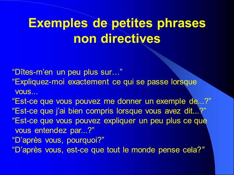 Exemples de petites phrases non directives Dîtes-men un peu plus sur… Expliquez-moi exactement ce qui se passe lorsque vous...