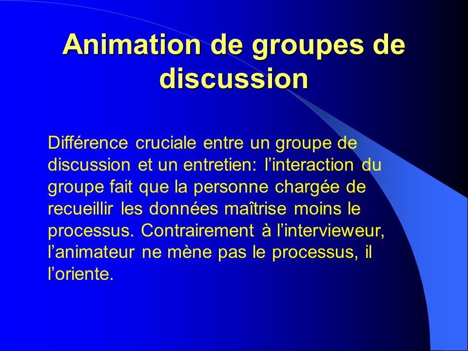 Animation de groupes de discussion Différence cruciale entre un groupe de discussion et un entretien: linteraction du groupe fait que la personne chargée de recueillir les données maîtrise moins le processus.
