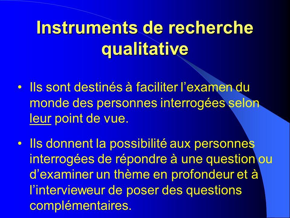 Instruments de recherche qualitative Ils sont destinés à faciliter lexamen du monde des personnes interrogées selon leur point de vue.