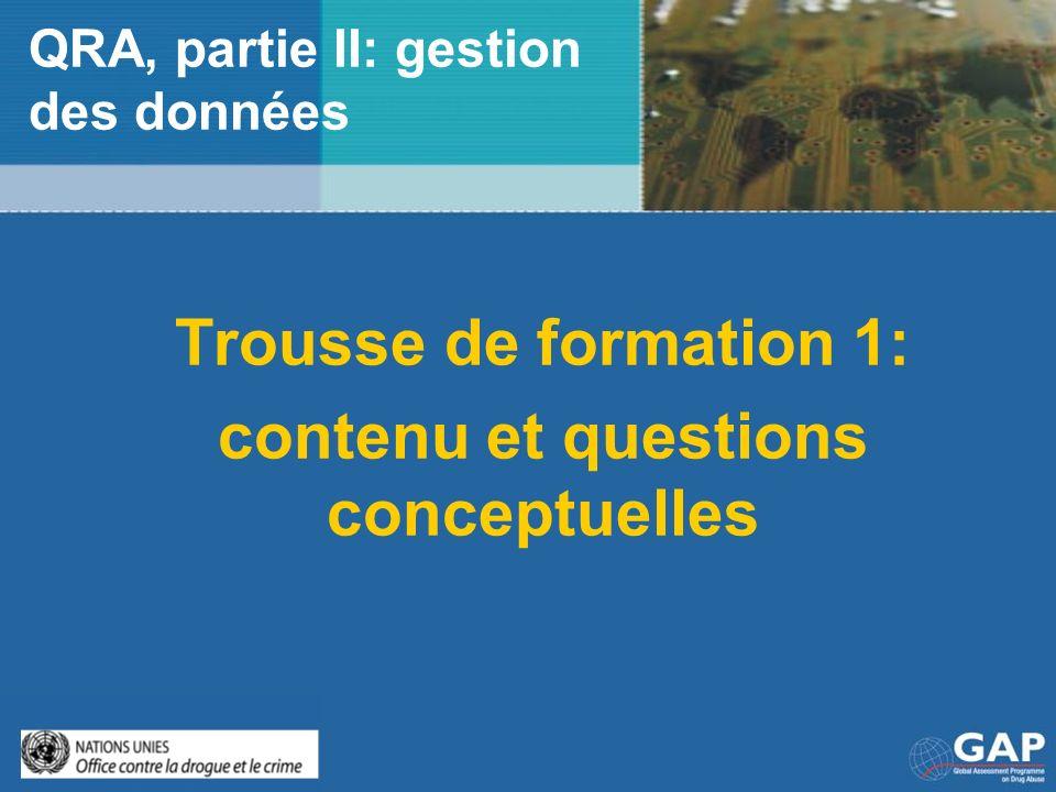 QRA, partie II: gestion des données Trousse de formation 1: contenu et questions conceptuelles